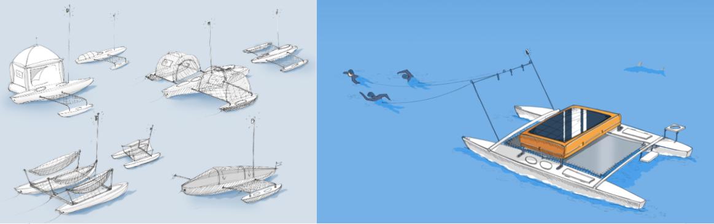 Premiers prototypes de l'embarcation